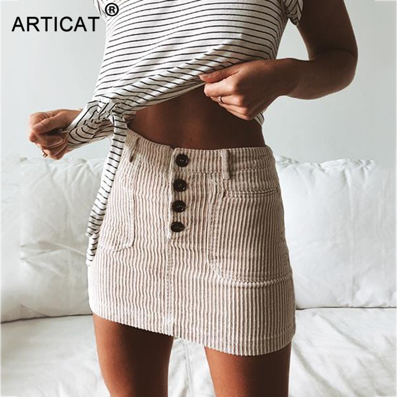 Articat Sexy Khaki Ribbed Women High Waist Skirt 2020 Autumn Casual Knitted Bodycon Pencil Skirt Breasted Cotton Mini Skirts