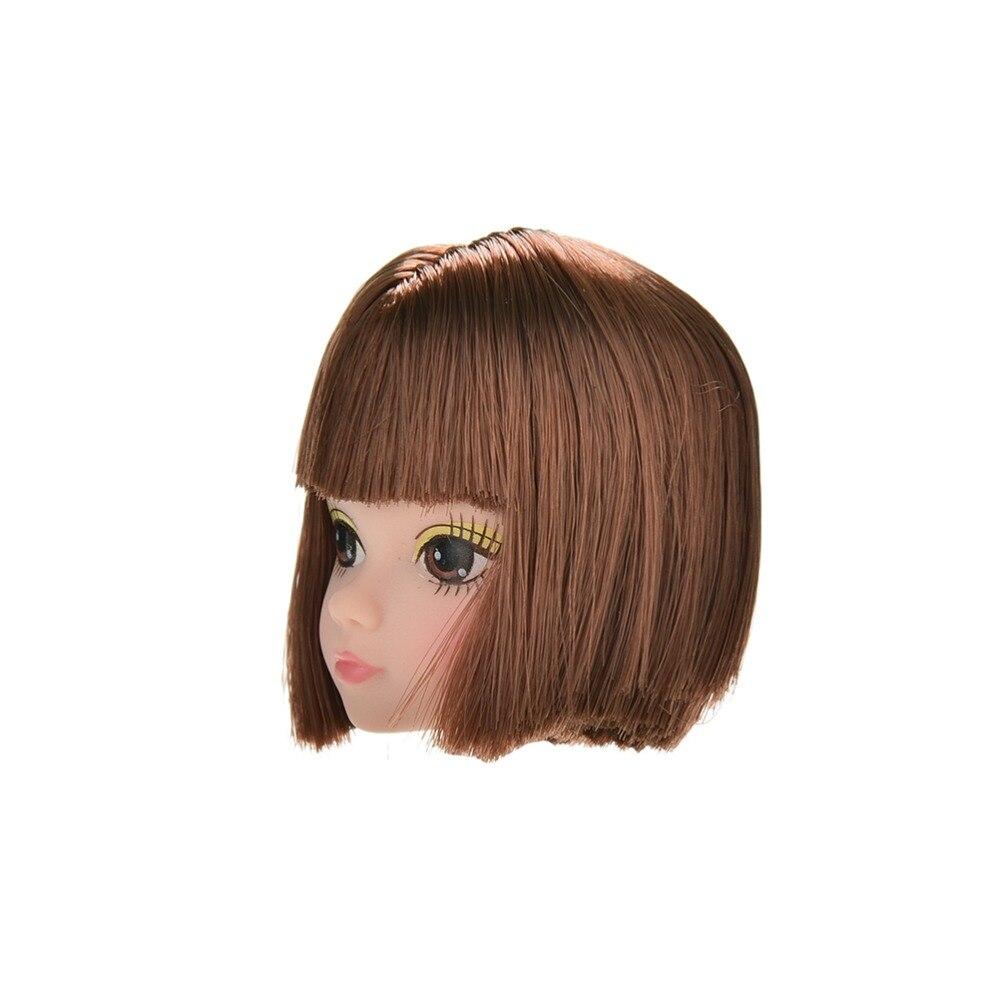 Nouvelle vente tête de poupée mode Flaxen cheveux courts étudiants tête perruques pour filles poupée Dollss