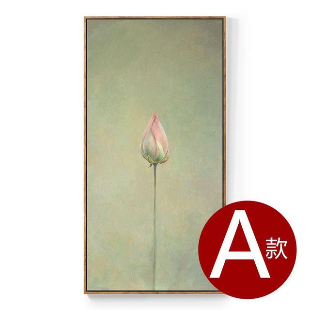 815 40 De Réductionfleur Lotus Toile Tenture Murale Art Affiche Simple Fond Nordique Dessin Jolie Peinture Murale Pour Couloir Chambre Décor In