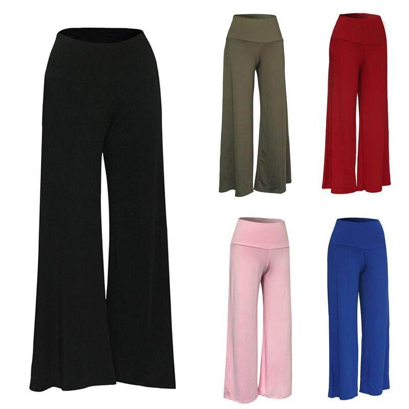 2017 HOT Fashion Women   Wide     Leg     Pants   Casual Stretch High Waist Female Solid   Wide     Leg   Long   Pants   Loose Womens Palazzo Trousers
