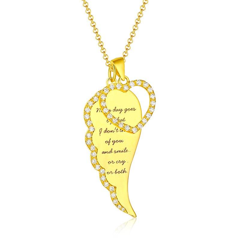 Gros femmes or ange aile bijoux pour petite amie ange aile coeur collier avec pierre de naissance argent pour noël