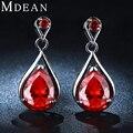 MDEAN Pendientes plateados oro Blanco de big Red gem Pendientes para las mujeres pendientes de rubíes de la boda de la joyería AAA CZ diamond joyería MSE050