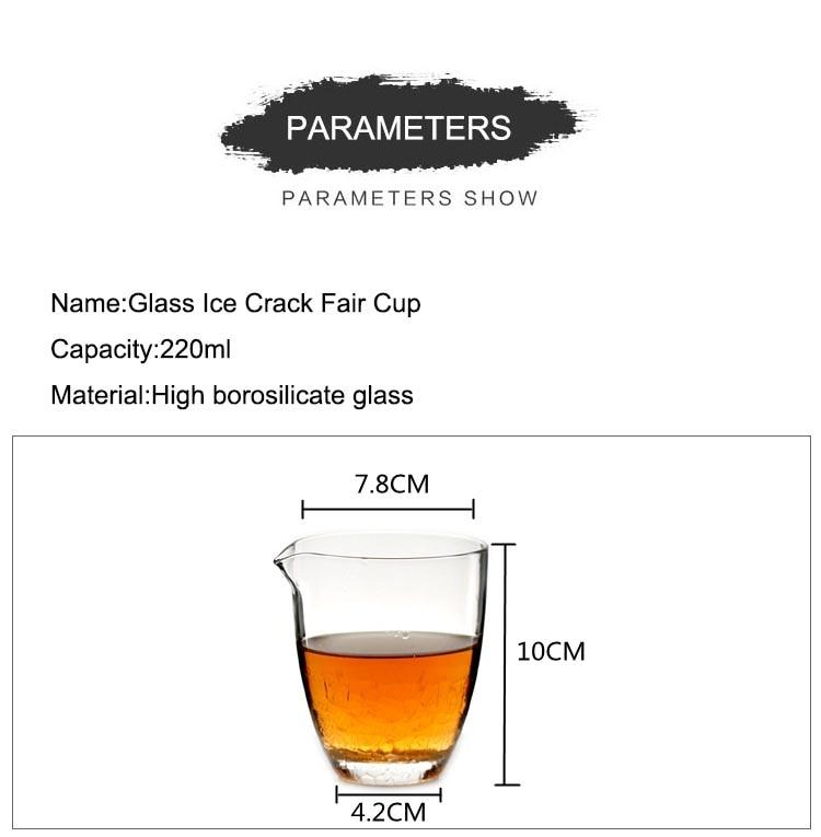 220ml Handmade Japanese Borosilicate Heat Resistant Glass Fair Cup Ice Crack Gold Palted Black Tea Coffee Cup Drinkware Kettle
