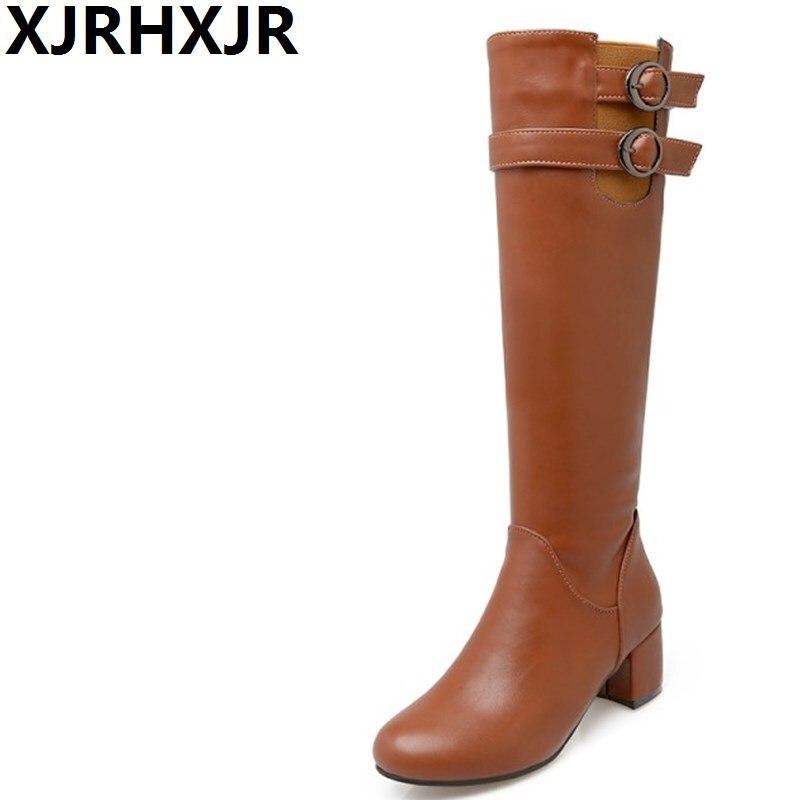 XJRHXJR British Style Long Boots Women Shoes Autumn Winter Warm Knee High Boots Fashion Buckle Side Zipper Square Heel Boots