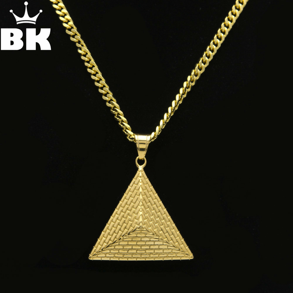 New Gold Color Egyptian Pyramid Charming Pendant Necklaces Stainless Steel Vintage Illuminati Jewelry With Chain for Women Men
