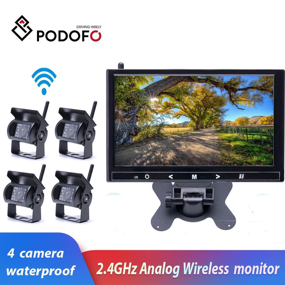 """9/"""" QUAD MONITOR WITH DVR BACKUP CAMERA SAFETY SYSTEM FOR TRUCK TRAILER RV"""