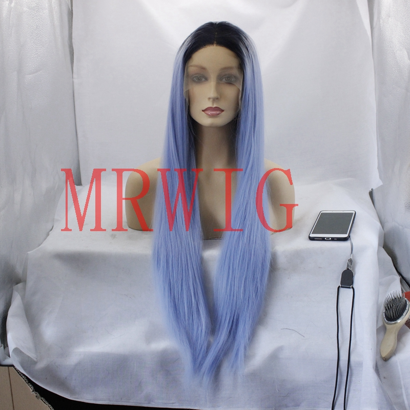 MRWIG ombre sky blue synthetic middle part short dark roots glueless front lace wig for  ...