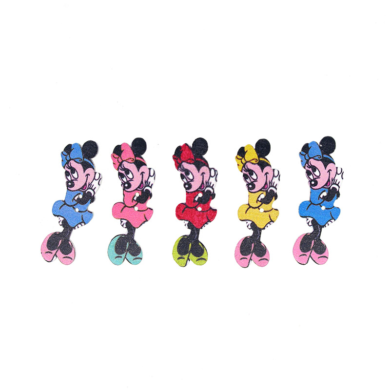30PCs Wooden Sewing Buttons Scrapbooking Minnie Mouse Mixed Two Holes Costura Botones bottoni botoes 38x15mm W2029