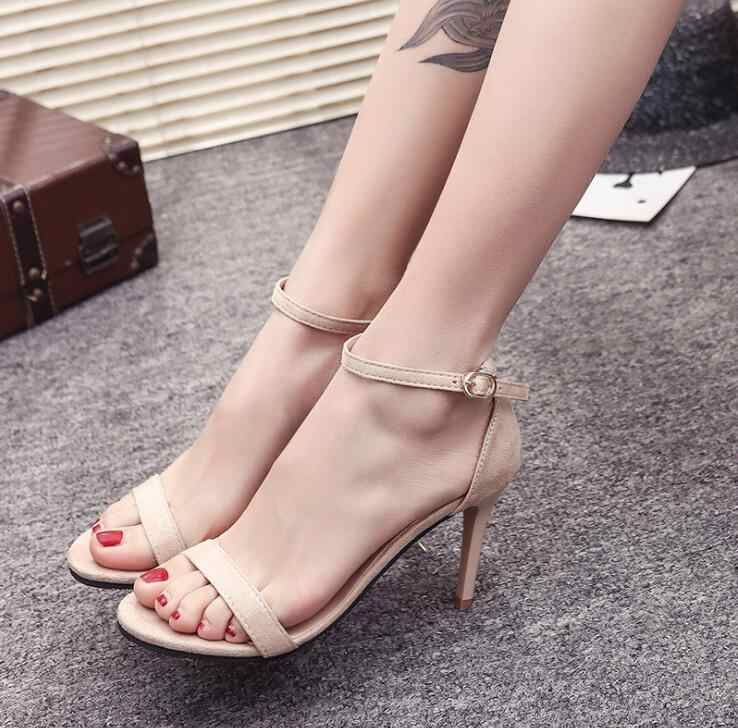 2019 Tali Pergelangan Kaki Mid-Heel Wedge Wanita Sandal Musim Panas Sepatu Wanita Terbuka Toe Chunky High Heels Pesta Sandal ukuran 33-40