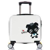Little grey universal wheels trolley luggage pc16 child cartoon luggage bag travel bag waterproof hard the box