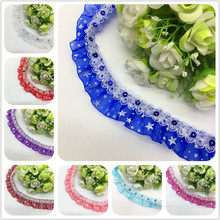 1yard/Lot 3cm Pleated Lace Ribbon Fabric for Sewing Embroidered Clothing Wedding Party DIY Handmade Craft Materials(China)
