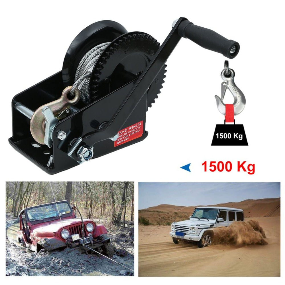 1500kg Manual Winch With Wire Rope Auto Lifting Sling 10M Boat Car Lift Winch Heavy Duty Hand Power Puller Hand Tool NEW professional manual winch with strap 1500kg 8 meters boat trailer lifting sling universal car hand power puller new