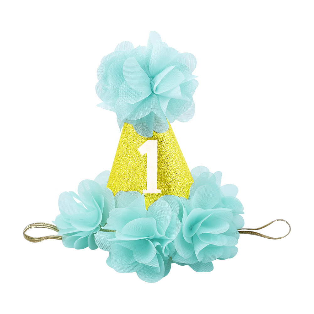 1 Year Old Cute Boys Girl Birthday Hats Dot With Lace Caps Baby Shower Cake Party Photo Props Children Decor