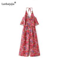 Lanbaiyijia Little Flowers Whole Print Halter Strap Jumpsuit Europe America Top Hot Fashion Brand Loose Women