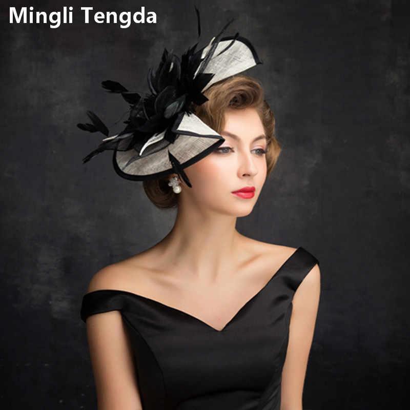 d1725aece Mingli Tengda Black Feather Bridal Hat Wild Bride Tiara Linen ...