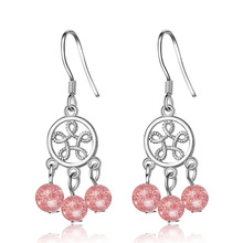 Trendy Pink Strawberry Quartz Flower 925 Sterling Silver Female Drop Earrings Wholesale Jewelry For Women Birthday Gift No Fade