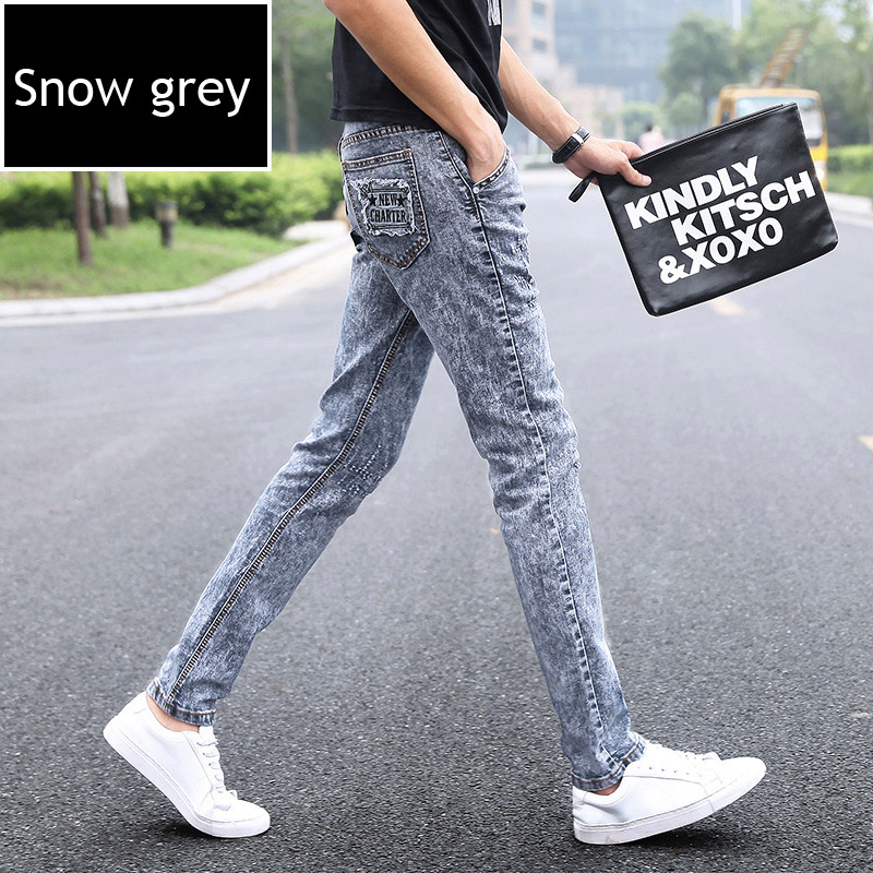 Top quality 2018 Fashion new Denim jeans men stretch winter snow feet pants male teenagers Slim Fit biker pants hombre
