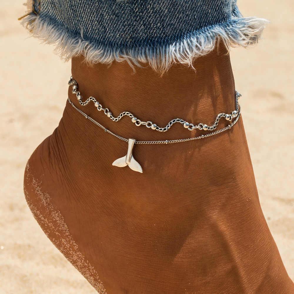 ボヘミアン複数層人魚の尾湾曲した波女性のヴィンテージ脚足首アンクレットチャームブレスレットビーチジュエリー