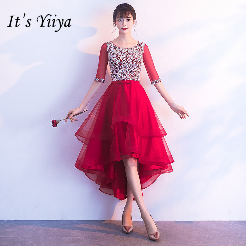 It's YiiYa Fashion Bling Sequined   Cocktail     Dress   Elegant Half Sleeve Formal   Dress   Party Gown H078