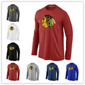 Barato Chicago Blackhawks Blackhawks de Manga Larga Camisetas Big & Tall Logo Fashion Tees Camisa de Algodón Del O-cuello de La Camiseta