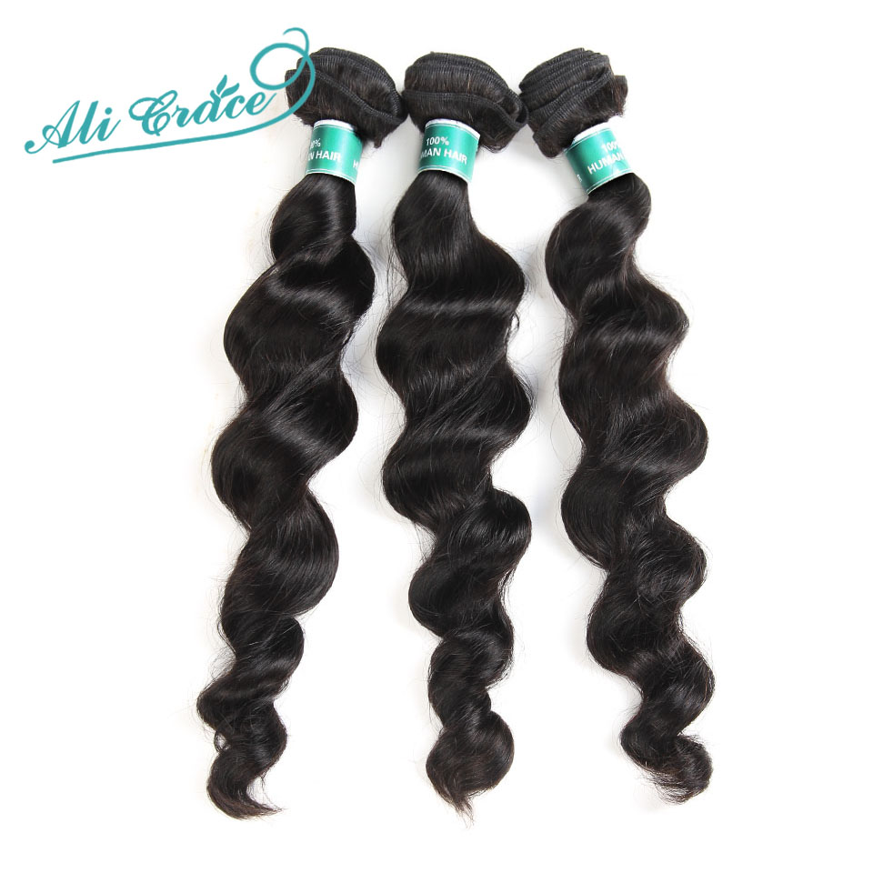 ALI GRACE Hair Indian Loose Wave 3 Bundles Deal Human Hair Natural Color Remy Hair Extension