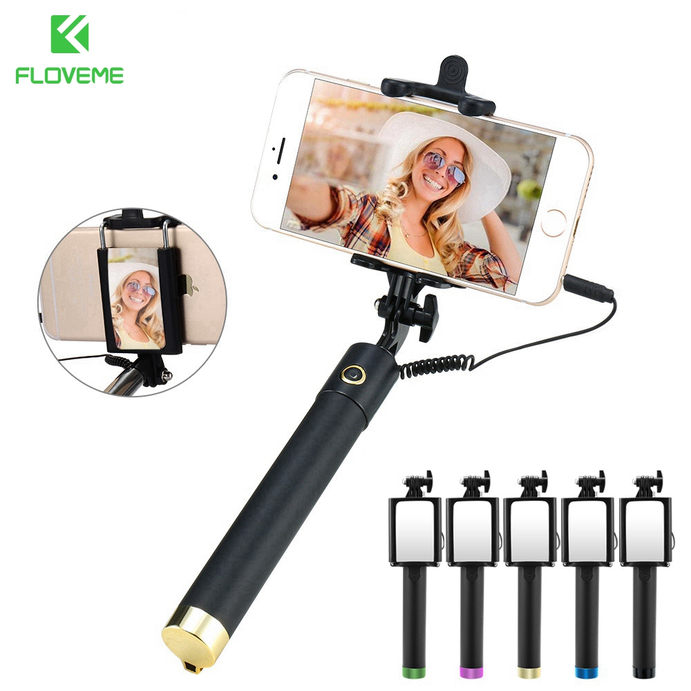 FLOVME Fashion Mirror Selfie Stick For iPhone 6 6s Plus Colorful Mini Mirror Full Compatible Selfie Stick For iPhone 5 5s se