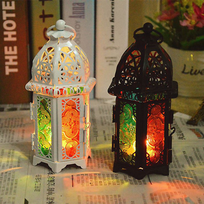 Vintage Metal Hollow Candle Holder Color Glass Crystal Moroccan Candlestick Hanging Lantern Wedding Decor P20 image