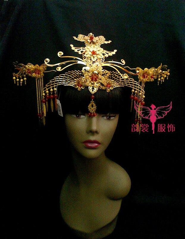 Костюм Hanfu невесты аксессуары для волос свадебный Cheongsam аксессуары для волос классический корона вставить волос тиара расческа для волос