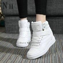 Nuevo 2016 del otoño del resorte botines zapatos de tacones de las mujeres zapatos casuales altura aumento high top zapatos botas de Invierno color mezclado