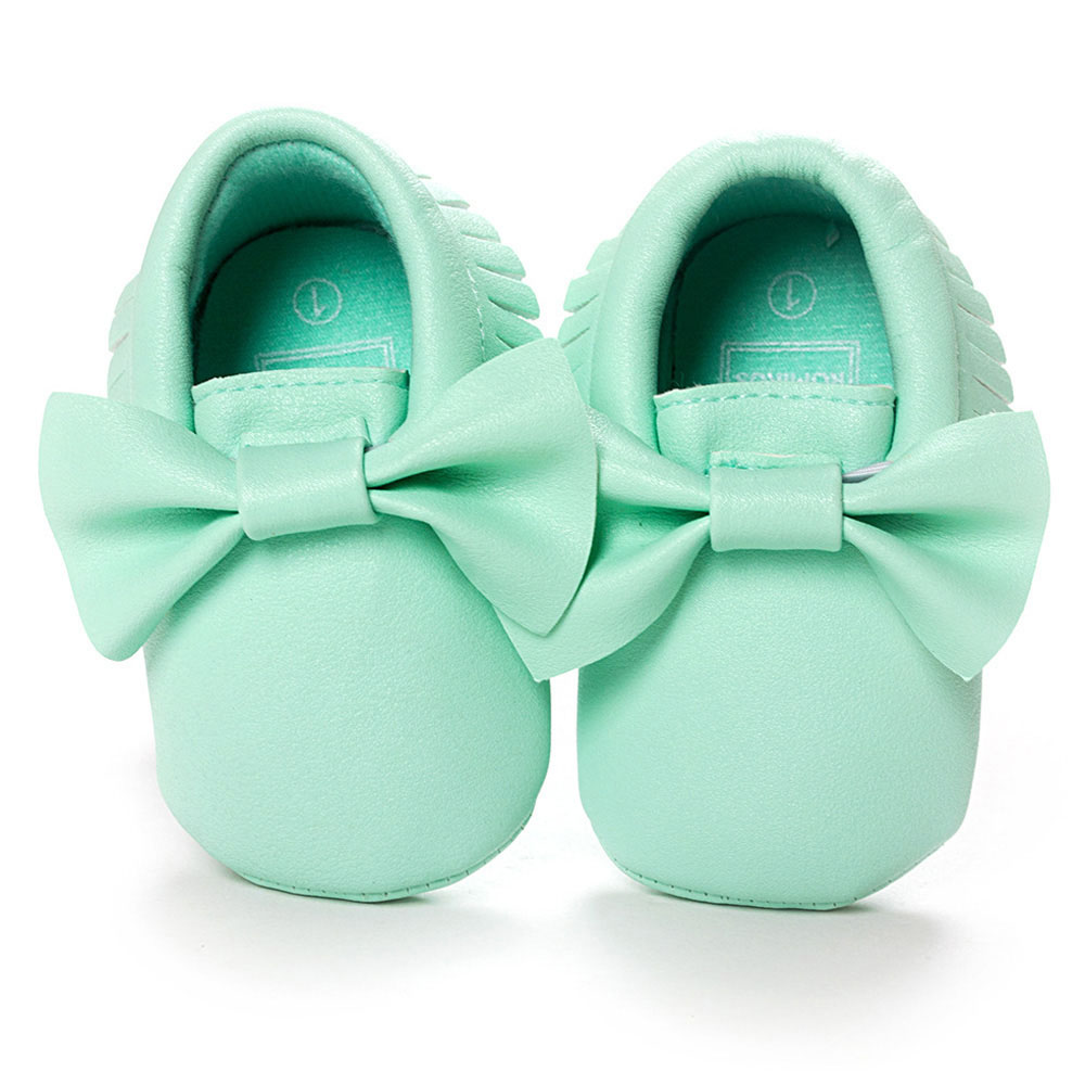Mint Green ROMIRUS Bowknot Newborn Baby Moccasins Shoes Tassel Soft Bottom Shoes Casual PU Leather For Kids Girls Boys