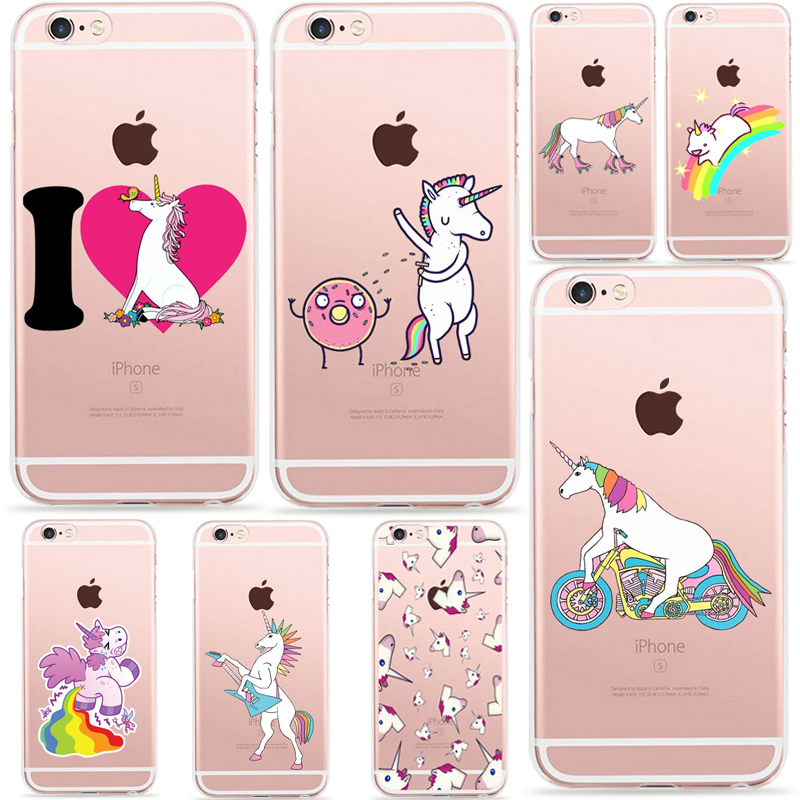 Cute Hippo Rainbow Unicorn Horse Clear Silicone/Plastic Phone Cases Coque Fundas Carcasa For Apple Iphone 6 6s Accessories Cover