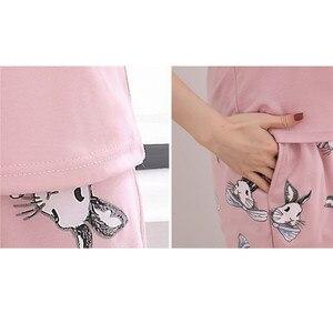 Image 5 - Piżama na zestaw damski lato jesień 2020 Plus rozmiar awaii bawełniane ubrania domowe kobiety bielizna nocna Cartoon kobieta Homewear pijama 3XL