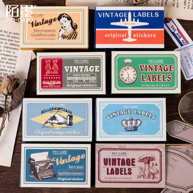 60pcs/box Vintage Plant Travel Matchbox Diary Stickers Retro Stamps Scrapbooking Korean Cute Bullet Journal Sticker Label