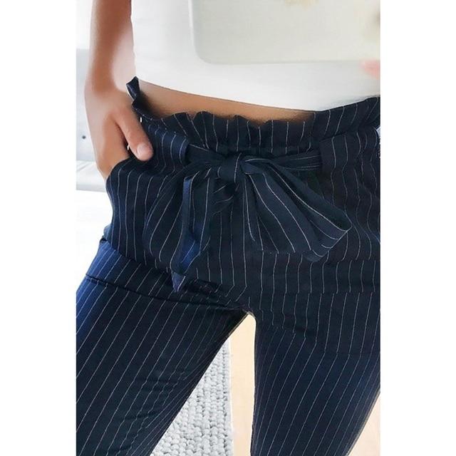 2019 New Striped OL chiffon high waist harem pants women stringyselvedge summer style casual pants female trousers 4