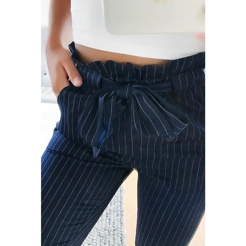 2020 New Striped OL Chiffon High Waist Harem Pants Women Stringyselvedge Summer Style Casual Pants Female Trousers 2