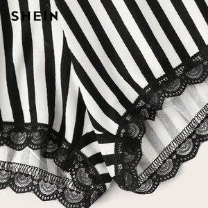Image 5 - SHEIN 黒文字印刷トップとレーストリムストライプショーツ PJ セット夏パジャマ女性カジュアルパジャマナイトウェアパジャマセット