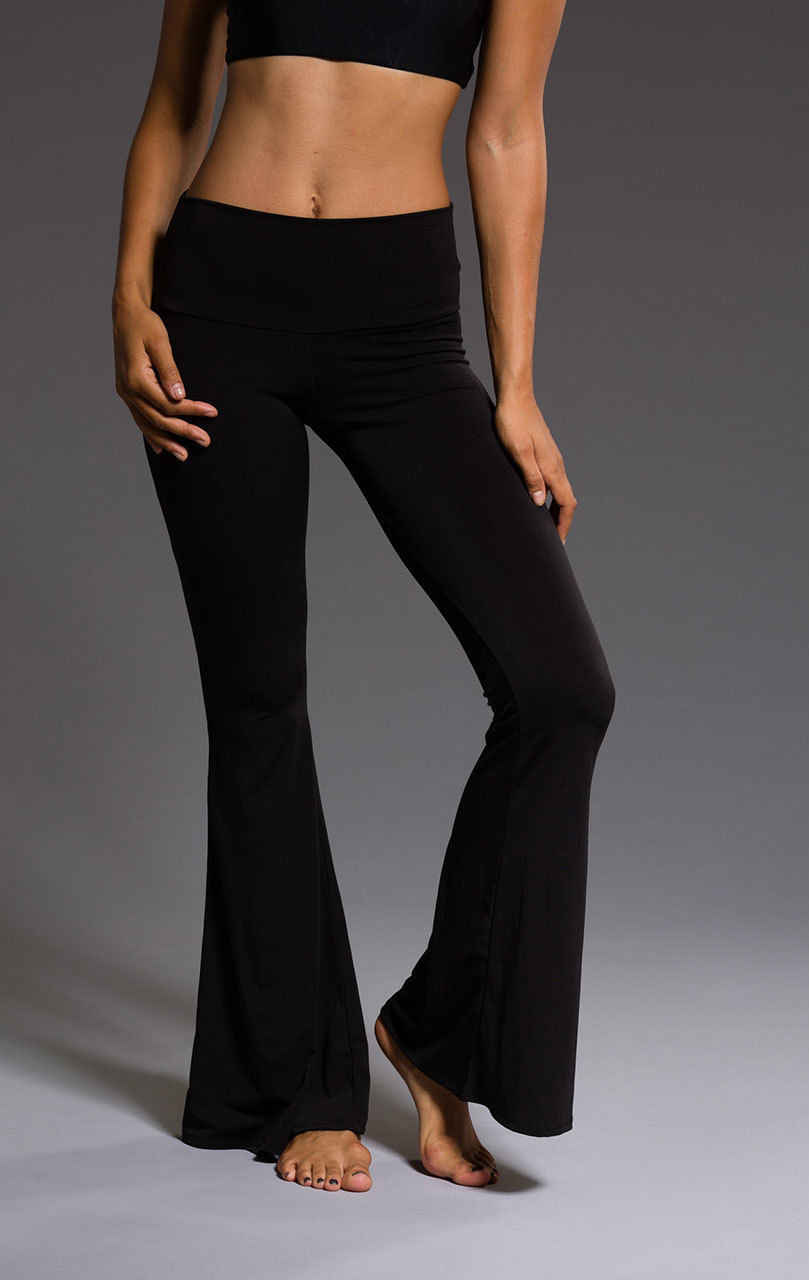 67ad2105e48f0d ... Womens High Waisted Trousers Black Wide Leg Flared Slim Bell Solid Pants  Leggings ...