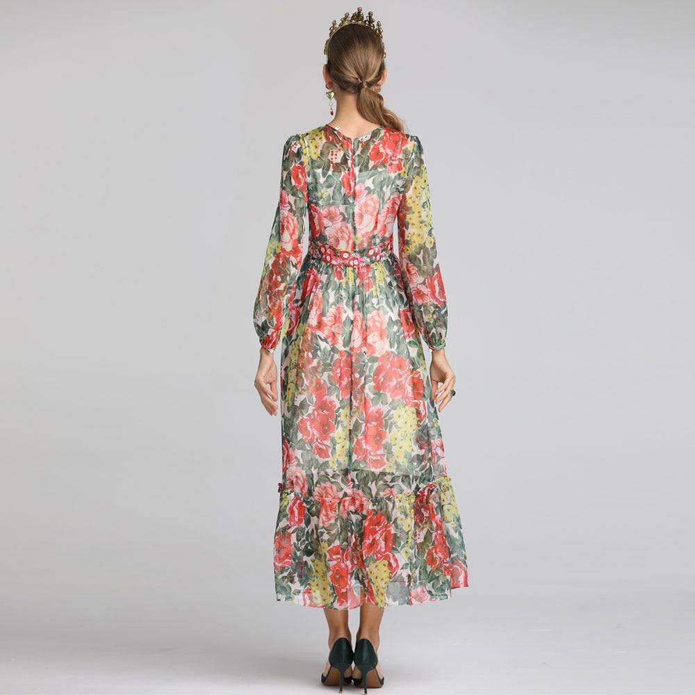 2019 Floral Robe Imprimé Designer Femmes Longue Vacances Roosarosee C Mousseline Rouge Femme Broderie Robes D'été De Soie Maxi Rv1wqgxC