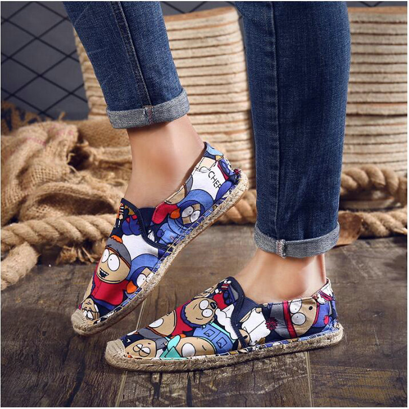 Women Casual canvas Shoes cartoon Linen Girl Espadrille Fisherman Shoes Ladies Flats Plimsolls Loafers driving shoes LF-5050 3