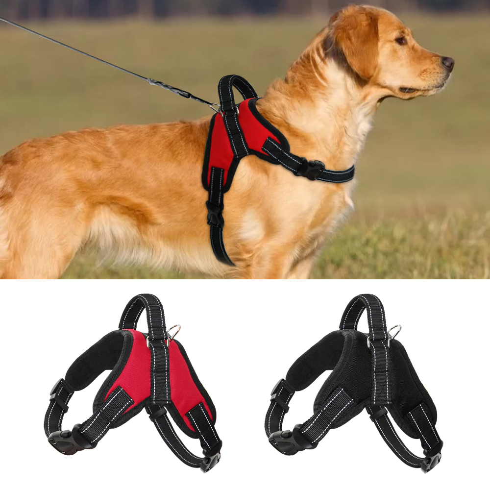 Solid Heavy Duty Dog Pet Harness Collar Padded Extra Big Large Medium Small Double Leashes Dog Harnesses Vest Husky Dogs Supplie Easy To Use Leashes