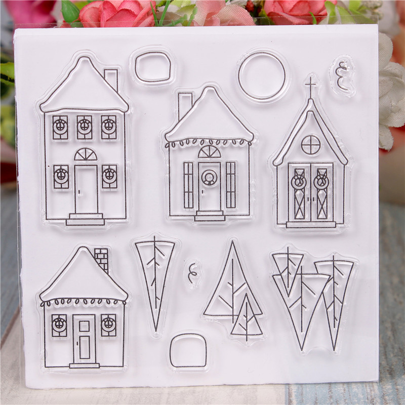 Rubber Silicone Clear Stamps for Scrapbooking Tampons Transparents Seal Background Stamp Card Making Diy House Text Stempel