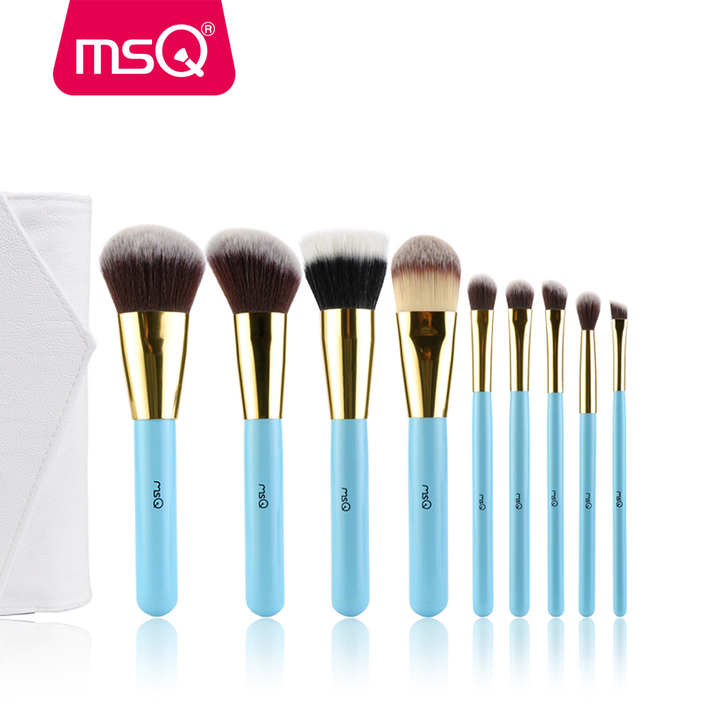 MSQ High Quality Professional 9pcs Makeup Brush Set Kit & Tools Soft Synthetic Hair Make Up Brushes Set With High Quality Bag 147 pcs portable professional watch repair tool kit set solid hammer spring bar remover watchmaker tools watch adjustment