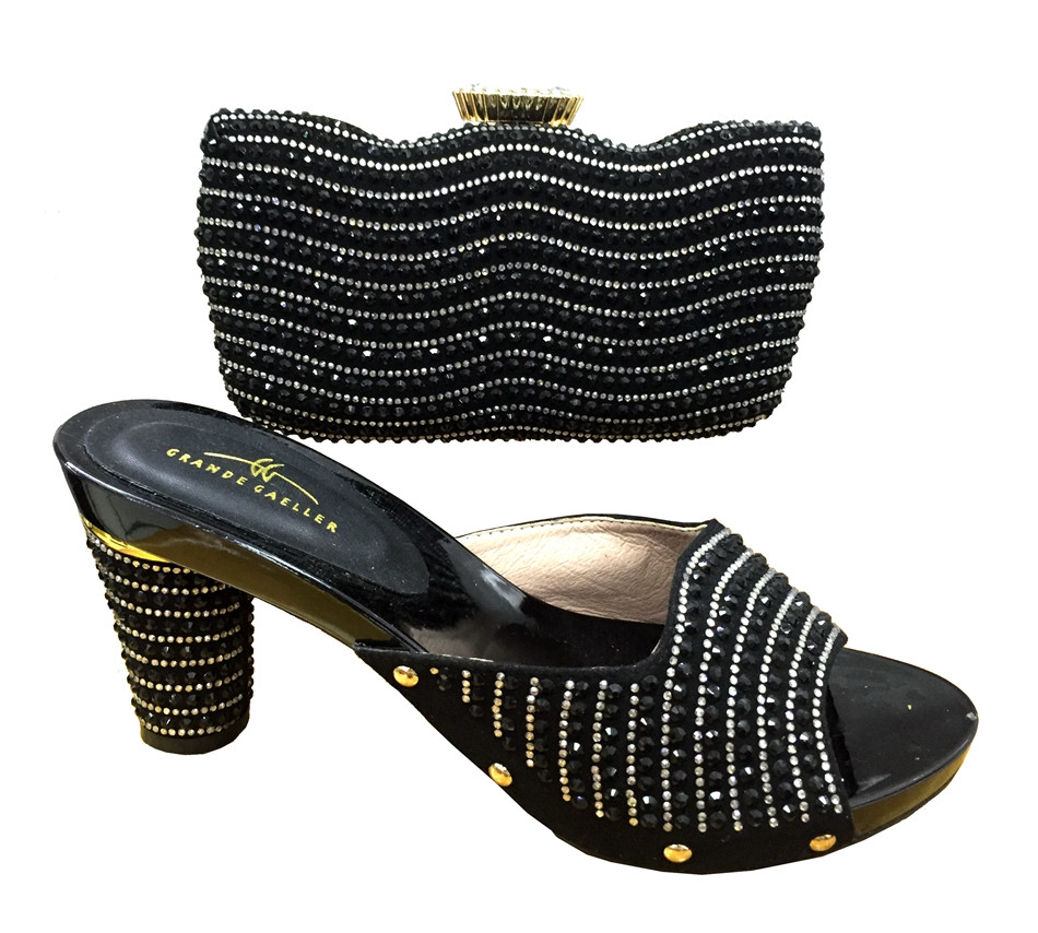 ФОТО Italy Shoe And Bag Set With Stones African Shoe With Bags For Wedding Italian Shoe With Matching Bag For Party Size 37-43 TT15