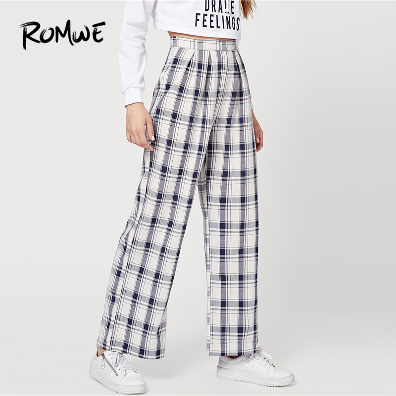 ROMWE Blue Tartan Plaid   Wide     Leg     Pants   Women Autumn Fashion Bottoms Casual Womens Clothing Female High Waist Long Trousers