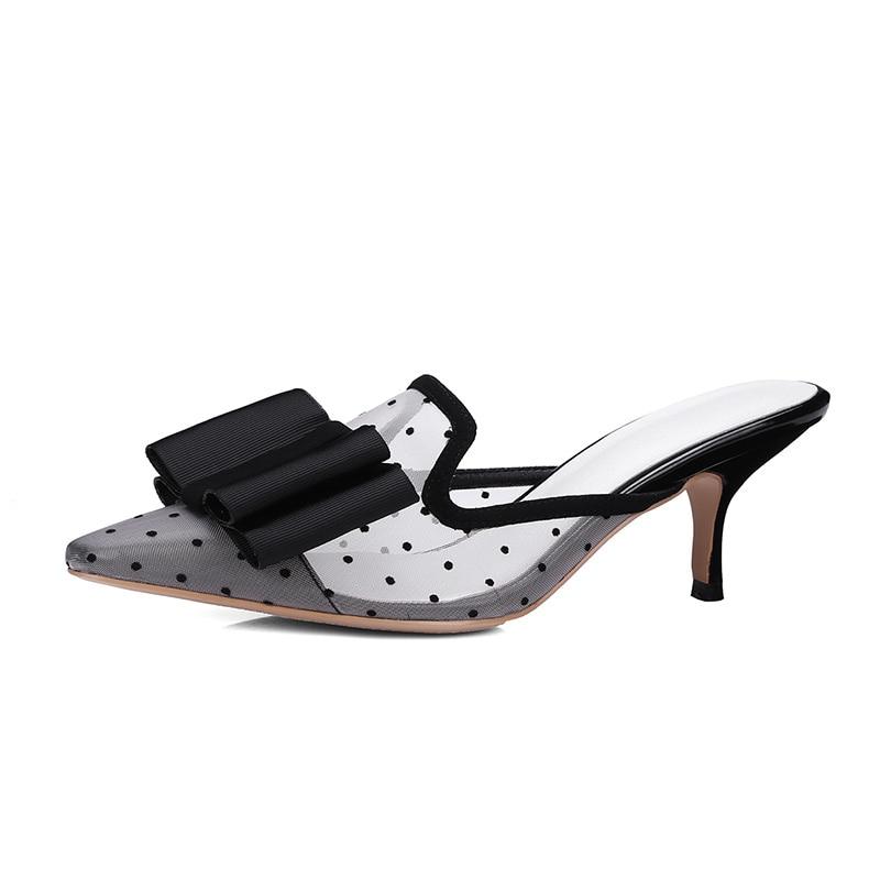 Wetkiss Handmade Sexy Mesh Butterfly Knot Slippers Women Shoes Summer Thin High1