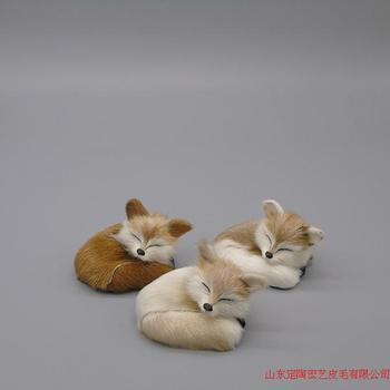 Simulation fox polyethylene&furs fox model funny gift about 8cmx6cm