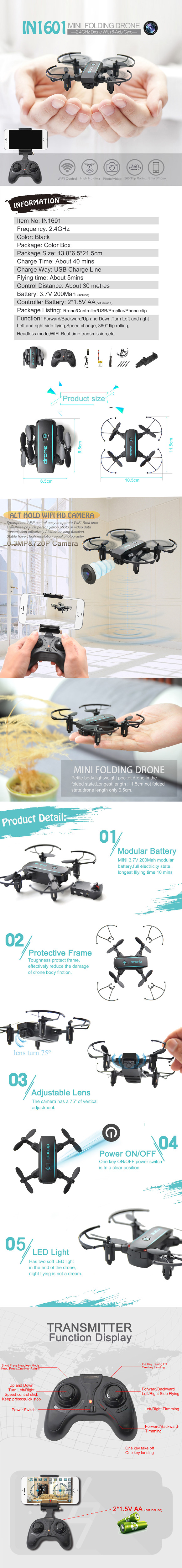 JMT 1601 Mini Foldable Drones with Camera HD 0.3MP 2MP Real Time Video Altitude Hold Drone WIFI FPV RC Quadcopter Toys Drone 1