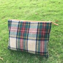 Wholesale Blanks Plaid font b Tartan b font Cosmetic Bag Wool Acrylic Soft Material Cosmetic Case