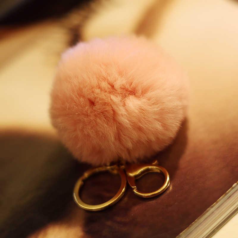"""מכירות חמות 8 ס""""מ סופר עגול מתכת מפתח שרשרת קישוטי כדור Poms פום פרווה קטיפה תליון מפתח טבעת"""