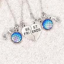 1 par Vintage mar Arco Iris pescado escala y Sirena encantos amor eterno r collares amigos regalo joyería E2523